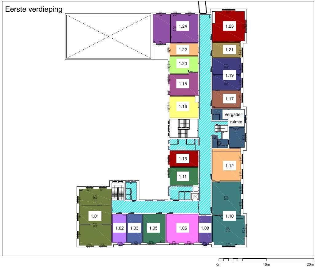Plattegrond eerste verdieping Hilversum een